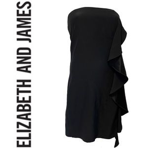 ELIZABETH AND JAMES silk ruffle dress in black